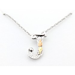 Black Hills Gold on Sterling Silver Initials Pendant - J