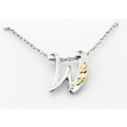 Black Hills Gold on Sterling Silver Initials Pendant - W