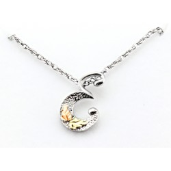 Black Hills Gold on Sterling Silver Initials Pendant - E