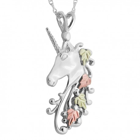 Black Hills Gold on Sterling Silver Unicorn Pendant with Chain