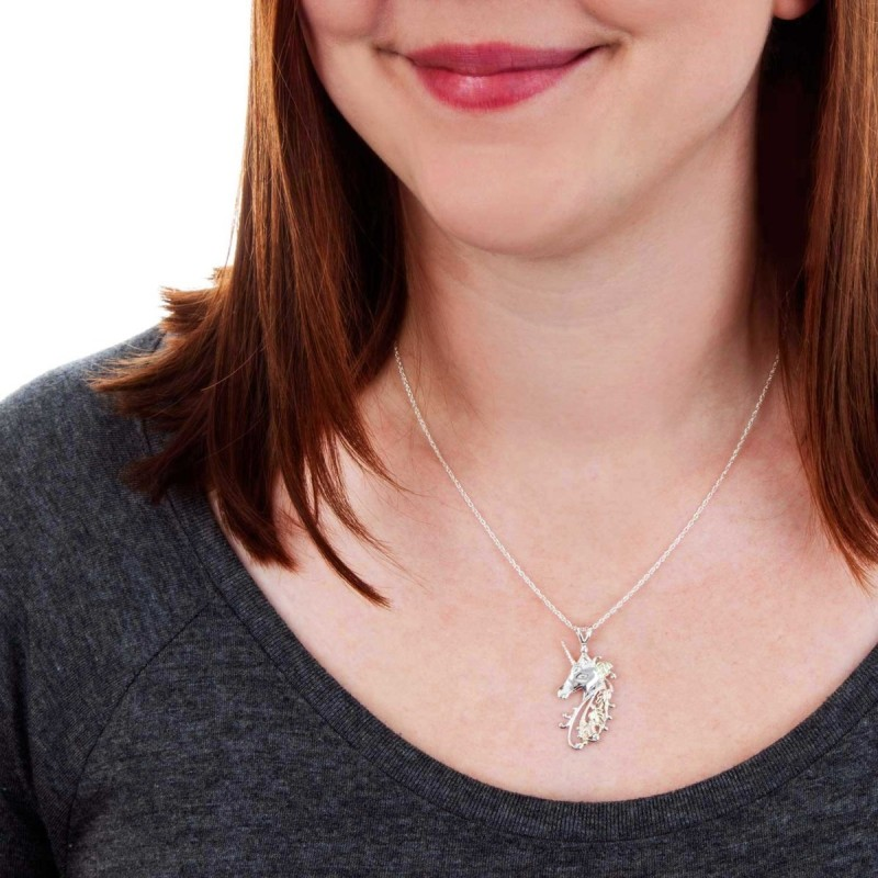 Black Hills Gold On Sterling Silver Unicorn Pendant With
