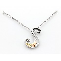 Black Hills Gold on Sterling Silver Initials Pendant - S