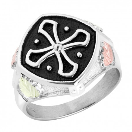 Men`s Sterling Silver Black Hills Gold Cross Ring