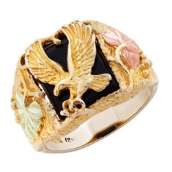 10K Black Hills Gold Eagle Mens Ring By Landstroms