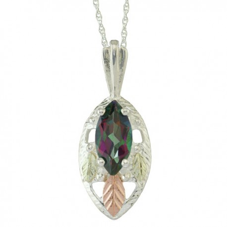 BLACK HILL GOLD LADIES SILVER 10X5 MM MYSTIC FIRE MARQUISE PENDANT NECKLACE