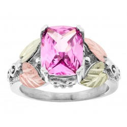 Mt. Rushmore Sterling Silver Ladies Ring with CR Pink Sapphire