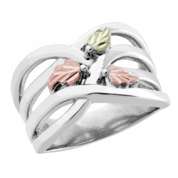 Black Hills Gold on Wide Sterling Silver Ladies Ring