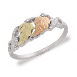 Mt. Rushmore Sterling Silver Ladies Ring with Two Leaves