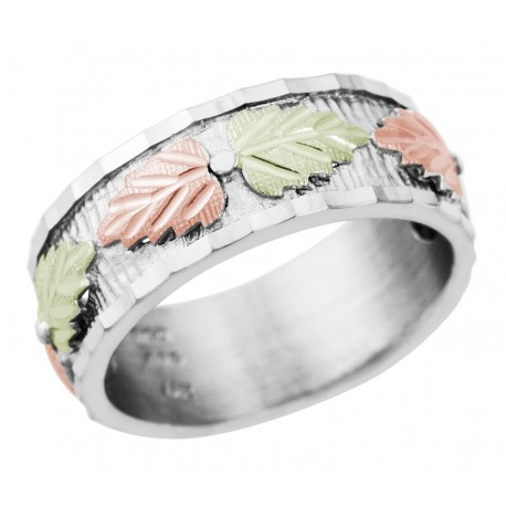 Mt. Rushmore Sterling Silver Ladies Band Ring with 12K Leaves
