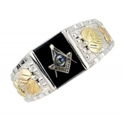 Mt. Rushmore Sterling Silver Masonic Ring with Onyx