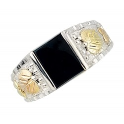 Mt. Rushmore Sterling Silver Onyx Mens Ring