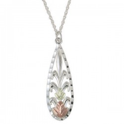 Black Hills Gold on Sterling Silver Ladies Teardrop Pendant Necklace