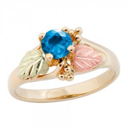 10K Black Hills Gold Ladies Ring with 5MM Blue Zircon by Landstrom's®
