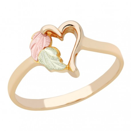Ladies Black Hills Gold Heart Ring with Leaves