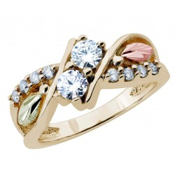 Stunning Black Hills Gold Tri-color 2Beloved Diamond Ring