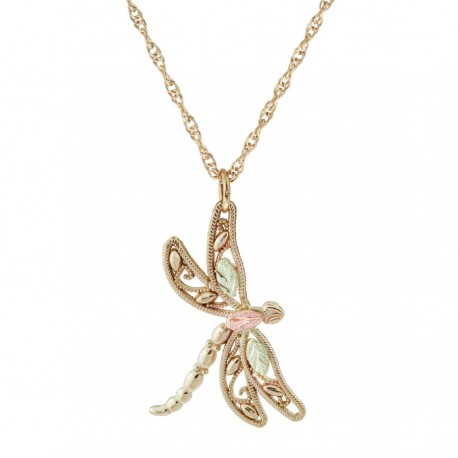 10K BLACK HILLS GOLD LADIES DRAGONFLY PENDANT NECKLACE