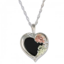 Black Hills Gold Sterling Silver 11x11mm Heart Onyx Ladies Pendant Necklace