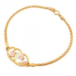Landstrom's® 10K Black Hills Gold Hummingbird Vermeil Chain Bracelet
