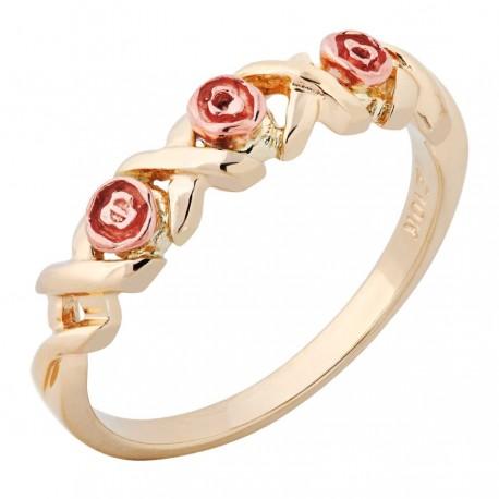 BLACK HILLS GOLD LADIES ROSE FLOWER RING