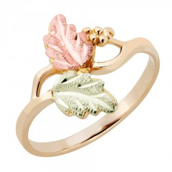 Landstrom's® Ladies Tri-color Black Hills Gold Ring with Leaves