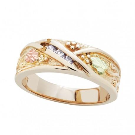 14K Black Hills Gold .09TW Diamond Ring for Ladies