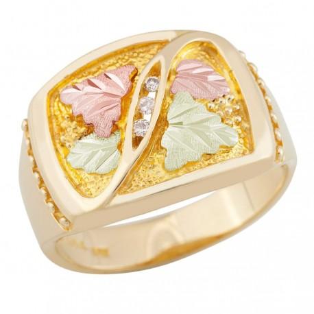 Men's Black Hills Gold Ring w/ Diamonds by Landstrom's®