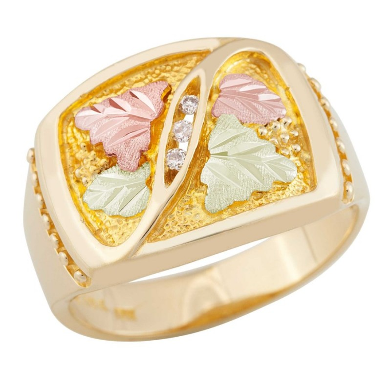 Men S Black Hills Gold Ring W Diamonds By Landstrom S