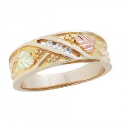 14k Black Hills Gold Mens .09tw Diamond Ring
