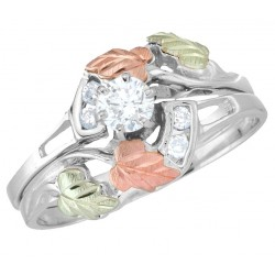 Tri-color Black Hills White Gold Diamond Bridal Set