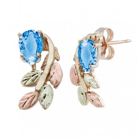 Stunning 10k Black Hills Gold Post Earrings w/ 6x4mm Genuine Blue Topaz