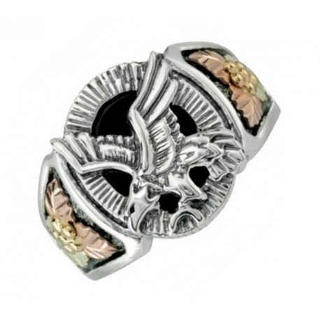 Black Hills Sterling Silver Onyx Eagle Mens Ring Oxidized Finish