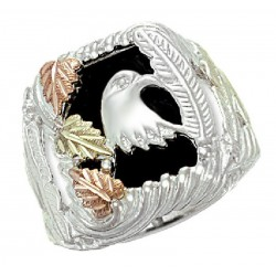 Black Hills Sterling Silver Men's Eagle Ring with 12k Gold Leaves