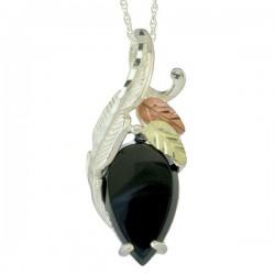 Black Hills Gold Silver Onyx Cabochon Ladies Pendant Necklace