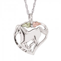 Black Hills Gold on Sterling Silver Horse In Heart Pendant
