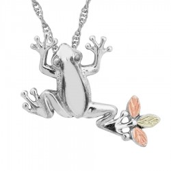 Black Hills Gold on Sterling Silver Frog Pendant with Chain