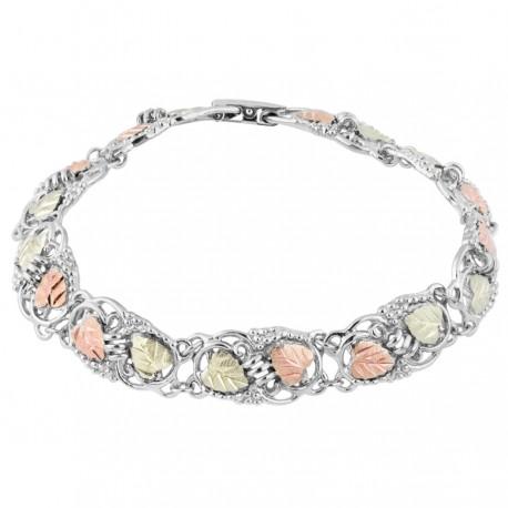 Black Hills gold on Sterling Silver Tri-Color Grapevine Bracelet