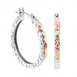 Landstrom's® Black Hills Gold on Sterling Silver Hoop Earrings