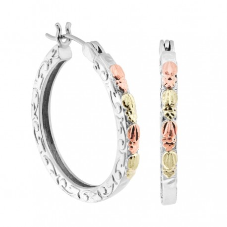 Black Hills Gold Sterling Silver Hoop Earrings