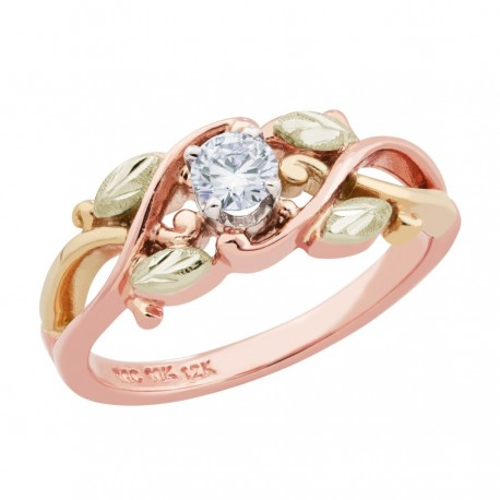 Landstroms 10K Black Hills Rose Gold Ladies Ring w Diamond