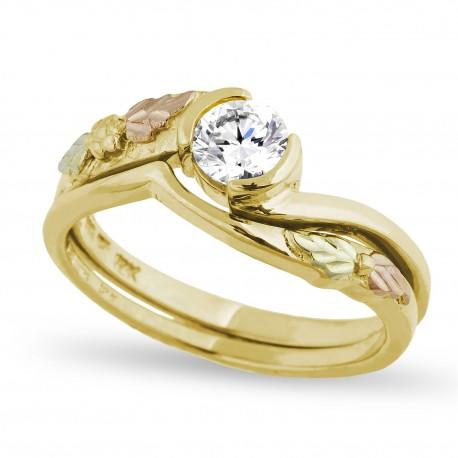 Mt. Rushmore 10K Black Hills Gold Ladies Wedding Ring Set w 0.5CT Diamond