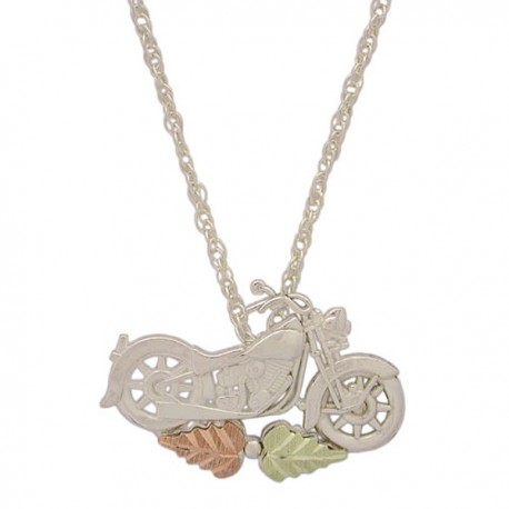 BLACK HILLS GOLD STERLING SILVER LADIES MOTORCYCLE PENDANT NECKLACE