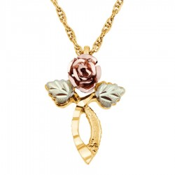 Mt. Rushmore 10K Gold Cross Pendant with Rose