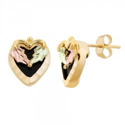 Mt. Rushmore 10K Gold Heart Earrings with Onyx