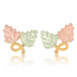Small Mt. Rushmore 10K Yellow Gold Stud Leaves Earrings