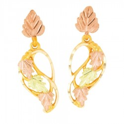 Mt. Rushmore 10K Yellow Gold Post Earrings with Leaves