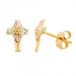 Mini Mt. Rushmore 10K Yellow Gold Cross Earrings with Grape
