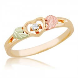 Mt. Rushmore 10K Gold Ladies Heart Ring with Diamond Accent