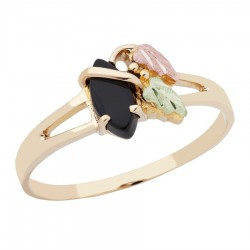 10K Black Hills Gold Onyx Ring With 12K Gold Leaves
