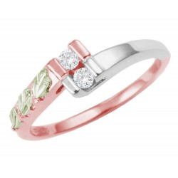 Landstrom's® Sterling Silver and 10K Rose Gold Ladies Ring w CZ