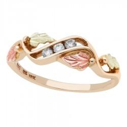 Mt. Rushmore 10K Black Hills Gold Waved Ladies Ring w Diamond